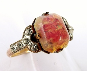 art deco foil backed glass opal pink paste ring vintage jewellery