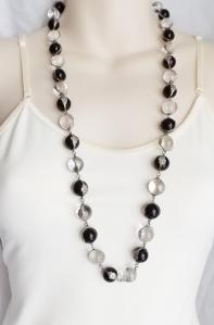 vintage art deco pools of light rock quartz crystal onyx gemstone undrilled bead necklace silver jewelry