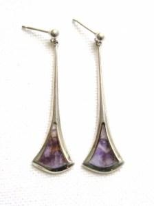 vintage blue john quartz silver drop earrings jewellery