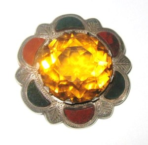 Vintage Scottish agate and silver brooch with citrine gemstone jewellery deco