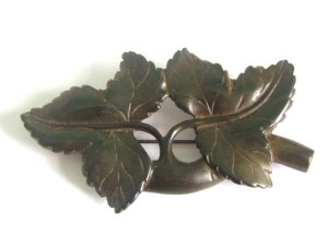 Antique Victorian Vulcanite Ivy leaves brooch jewellery mourning