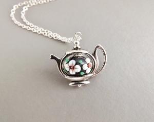 Cute teapot pendant charm necklace, with glass flower centre