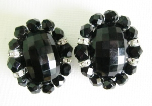 vintage french jet glass large earrings glass 60s