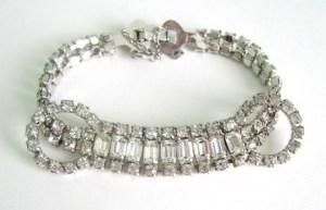 vintage 40s 50s deco 60s glass rhinestone paste loop glass bracelet (2)