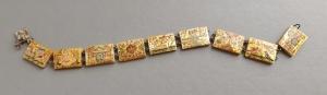 antique vintage persian painted mop pearl panel repair bracelet (5)