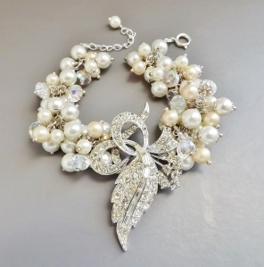 vintage reloved corsage pearl bead multi bracelet diamante brooch glass bridal jewellery