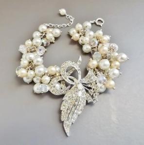 vintage reloved corsage pearl bead multi bracelet diamante brooch glass bridal jewellery