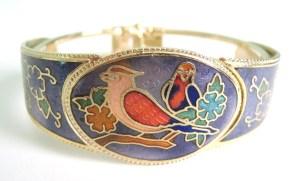 vintage bird cloisonne enamel clamper bracelet jewellery