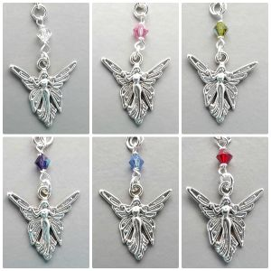 choose your colour fairy crystal pendant necklace unique cute silver tone charm jewellery