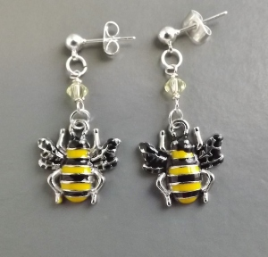 enamel bee glass bumblebee crystal yellow charm earrings unique cute silver tone jewellery
