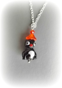 lampwork bead penguin bird pendant charm silver tone necklace unique cute jewellery