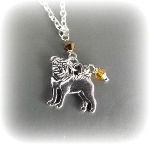 pug dog Austrian glass crystal yellow and brown bead pendant necklace unique cute silver tone jewellery