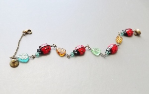 ladybird insect glass lampwork leaf earrings crystal bracelet cute antique bronze charm handmade jewellery