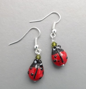 ladybird insect glass lampwork earrings crystal unique cute antique bronze charm handmade jewellery