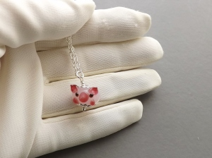 pig pendant lampwork glass bead cute necklace animal farm charm silver tone jewelry