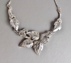 vintage 60s marcasite collar necklace leaf wedding bridal jewellery