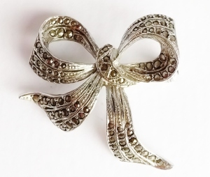 vintage marcasite bow silver brooch jewellery