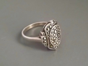 vintage marcasite pave sterling silver ring jewelry