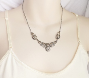 vintage marcasite swirl silver necklace jewelry
