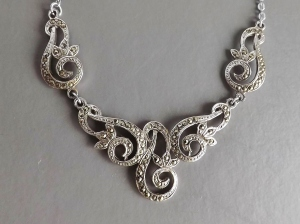 vintage marcasite swirl silver tone bridal wedding necklace jewellery