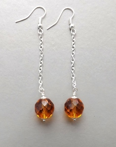 amber topaz brown crystal glass czech bead faceted long chain tassle drop earrings silver tone handmade fashion jewellery