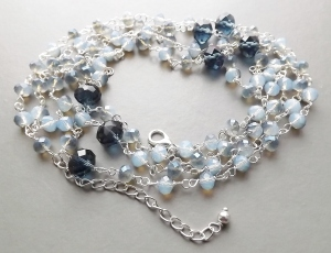 two tone dark pale light blue opaque crystal glass bead long flapper silver tone necklace handmade fashion jewellery