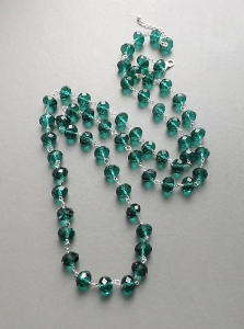emerald green long statement chunky green glass crystal bead necklace handmade fashion jewellery