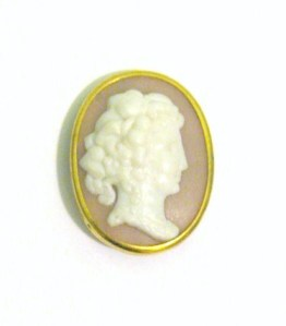 Vintage circa 1950s plastic costume jewellery cameo brooch