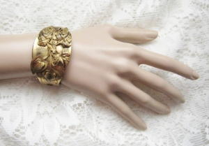 Art deco stunning repousse 3-D flower and leaf statement cuff bangle, in brass metal jewelry