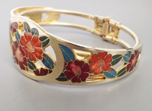 Flower red blue cloisonne enamel gold tone clamper bangle jewelry