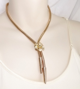 Vintage Eloxal gold tone snake chain statement necklace 1980s fashion jewellery