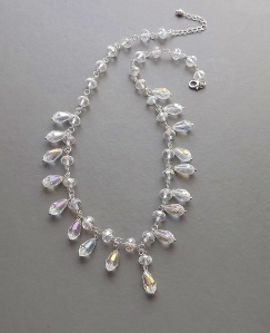 Stunning handmade crystal clear aurora borealis AB teardrop collar necklace, in silver tone metal wedding bridal prom jewelry