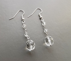 The timeless classic - clear glass crystal Czech glass drop bead earrings, in silver tone metal. I also have gold/ rose/ copper and bronze metals if you prefer, and all earrings can be made into clip ons bridal wedding jewellery