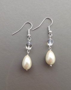 Cream white glass pearl teardrop crystal AB silver tone earrings wedding bridal prom jewelry