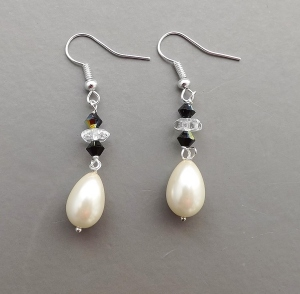 Art Deco inspired handmade earrings, detailed white glass pearl teardrops, with crystal and French Jet beads wedding bridal prom jewelry