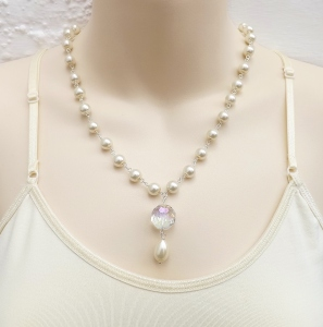 Gorgeous handmade glass pearl & crystal aurora borealis teardrop pendant necklace wedding bridal prom jewellery