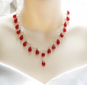 Clear crystal glass bead handmade necklace, detailed with ruby red glass teardrops wedding bridal prom jewelry