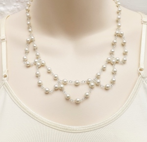 Adorable handmade white glass pearl drape necklace, in silver tone metal wedding bridal prom jewellery
