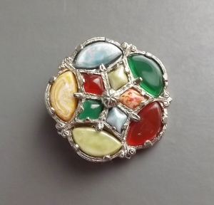 vintage modern Scottish agate glass costume jewellery brooch