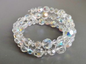 Handmade memory wire wrap bridal bracelet, made with vintage ab crystal beads.