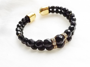 French jet black glass torque bracelet, made from memory wire