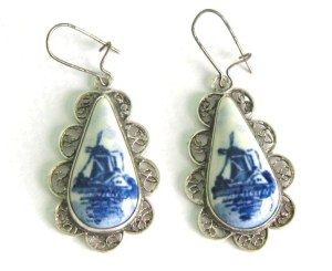 A pair of pretty blue and white Delft earrings, with distinctive Dutch windmill detail.