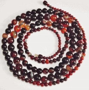 Very long banded agate bead graduated flapper rope necklace jewellery