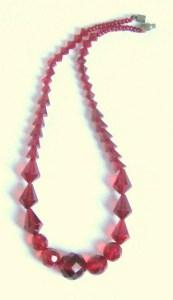 Vintage art deco red Czech glass bead necklace