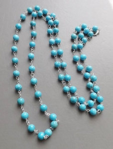 Turquoise colour blue howlite gemstone long bead flapper necklace