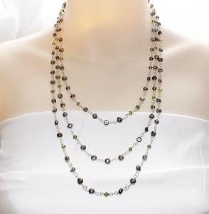 Handmade green freshwater cultured pearl and Austrian crystal 3 row drape bib necklace
