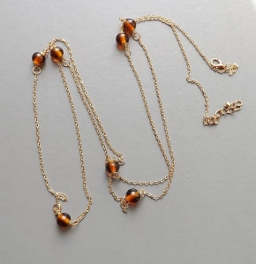 Amber glass stone gold plated chain long flapper necklace