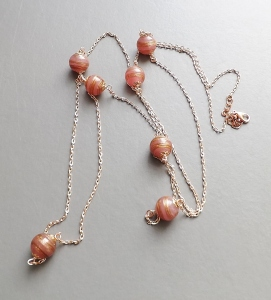 pink aventurine goldstone swirl glass bead rose gold plated chain long flapper necklace