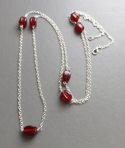 Red glass bead silver plated chain long flapper necklace