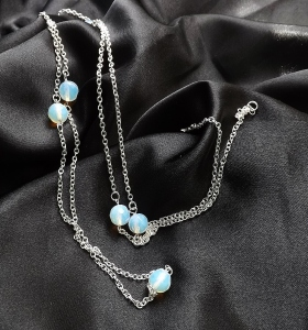 Opalite glass bead silver plated chain long flapper necklace